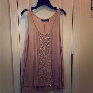 Tan Tank Top with sequins